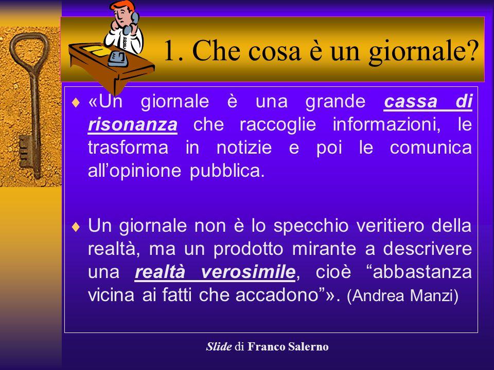 Autore: Franco Salerno Corso di scrittura Come si scrive un ARTICOLO DI GIORNALE Slide di Franco Salerno