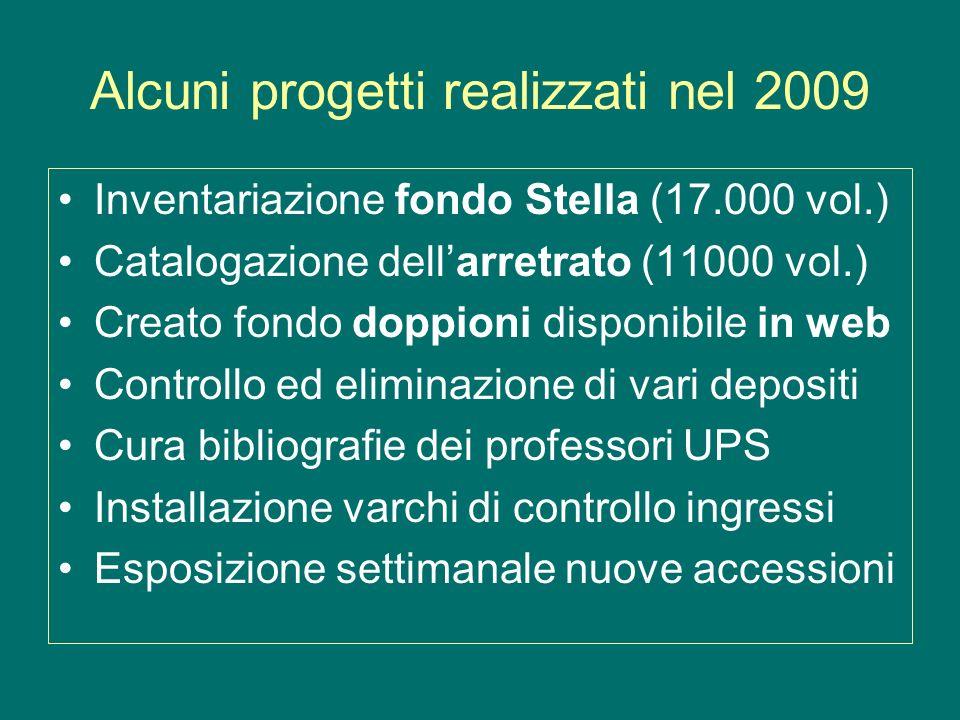 Progetti da realizzare nel 2010 Catalogazione del pregresso (40-50.000 v.) Nuovo modulo di catalogazione (WebCat: 8 lic.) Controllo donazioni e depositi (continua) Trasferimento nel silo di 50.000 vol.
