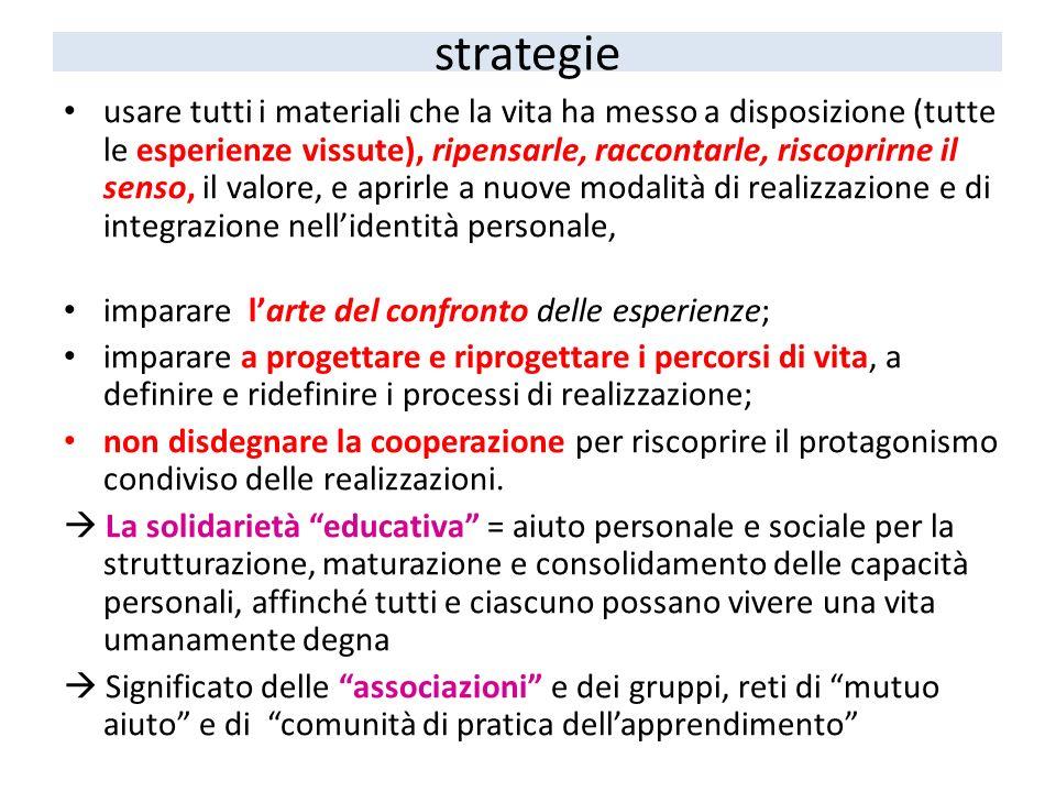 strategie usare tutti i materiali che la vita ha messo a disposizione (tutte le esperienze vissute), ripensarle, raccontarle, riscoprirne il senso, il