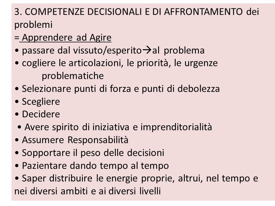 3. COMPETENZE DECISIONALI E DI AFFRONTAMENTO dei problemi = Apprendere ad Agire passare dal vissuto/esperito al problema cogliere le articolazioni, le