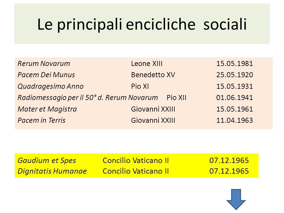 Le principali encicliche sociali Rerum NovarumLeone XIII15.05.1981 Pacem Dei MunusBenedetto XV25.05.1920 Quadragesimo AnnoPio XI15.05.1931 Radiomessag