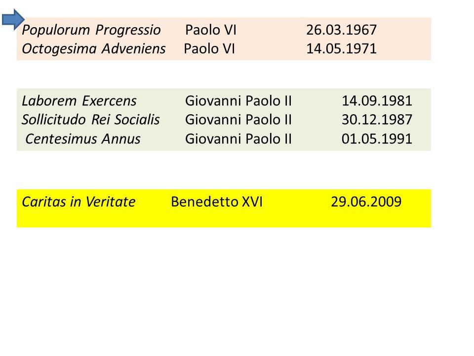 Populorum Progressio Paolo VI26.03.1967 Octogesima Adveniens Paolo VI14.05.1971 Laborem Exercens Giovanni Paolo II 14.09.1981 Sollicitudo Rei Socialis