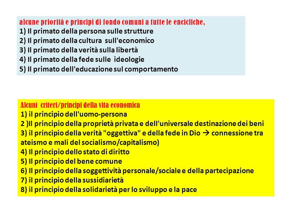 alcune priorità e principi di fondo comuni a tutte le encicliche, 1) Il primato della persona sulle strutture 2) Il primato della cultura sull'economi