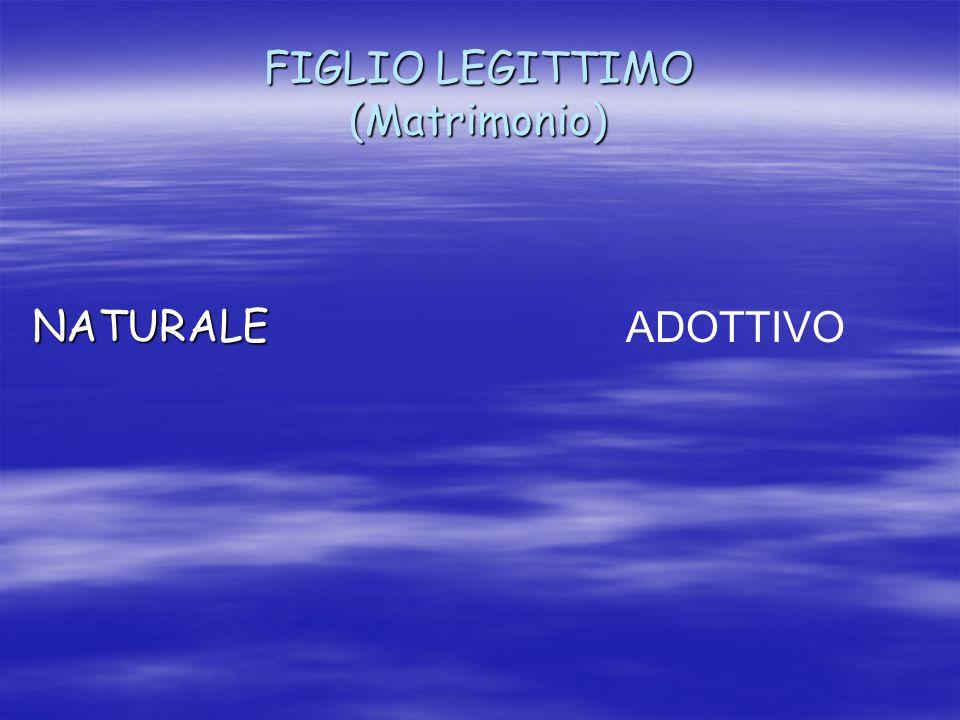 FIGLIO LEGITTIMO (Matrimonio) NATURALE ADOTTIVO