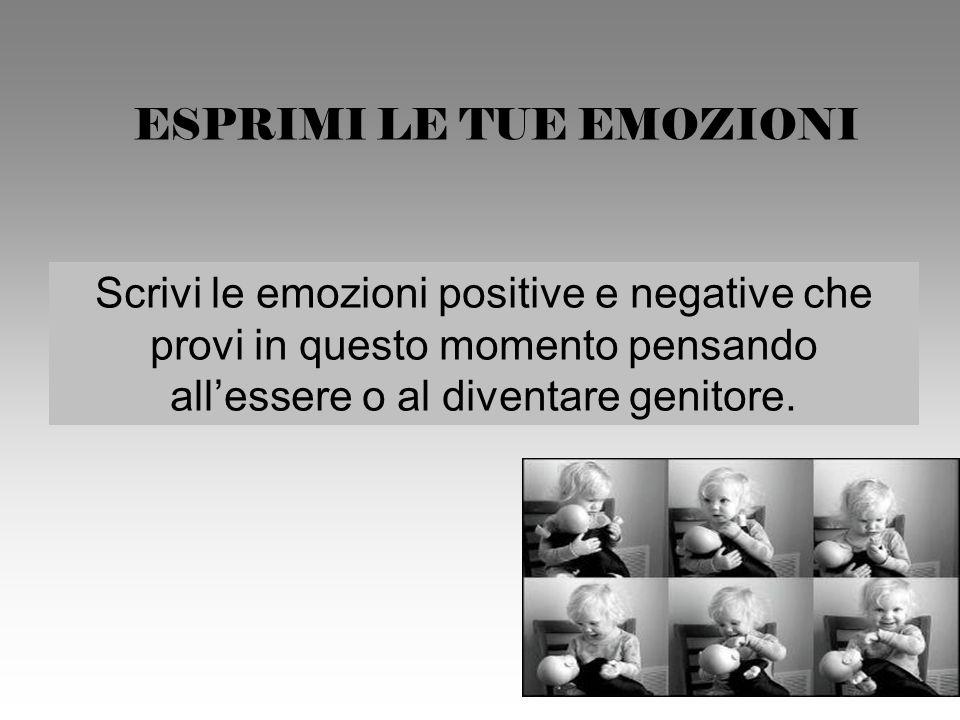 ESPRIMI LE TUE EMOZIONI Scrivi le emozioni positive e negative che provi in questo momento pensando allessere o al diventare genitore.