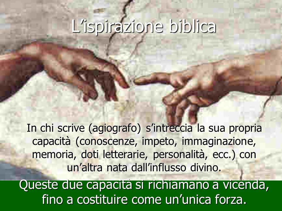 Lispirazione biblica In chi scrive (agiografo) sintreccia la sua propria capacità (conoscenze, impeto, immaginazione, memoria, doti letterarie, person
