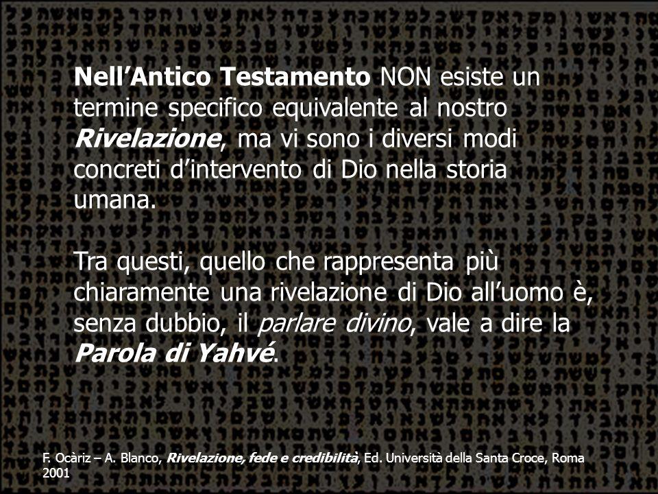 F. Ocàriz – A. Blanco, Rivelazione, fede e credibilità, Ed. Università della Santa Croce, Roma 2001 NellAntico Testamento NON esiste un termine specif