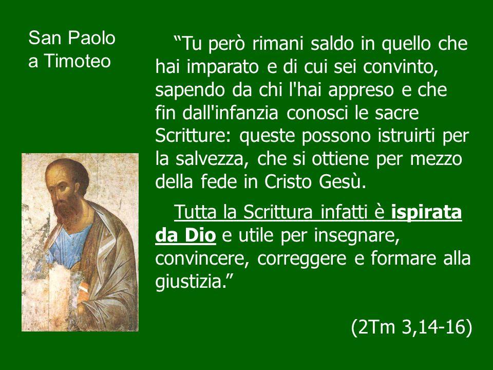 Tutta la Scrittura infatti è ispirata da Dio Questa affermazione di san Paolo è preparata da una lunga tradizione biblica che trova particolarmente nei profeti la sua espressione più significativa.