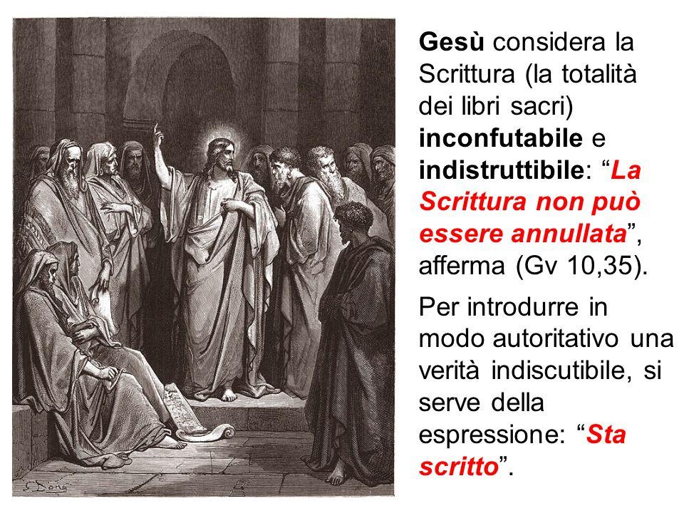 Gesù considera la Scrittura (la totalità dei libri sacri) inconfutabile e indistruttibile: La Scrittura non può essere annullata, afferma (Gv 10,35).
