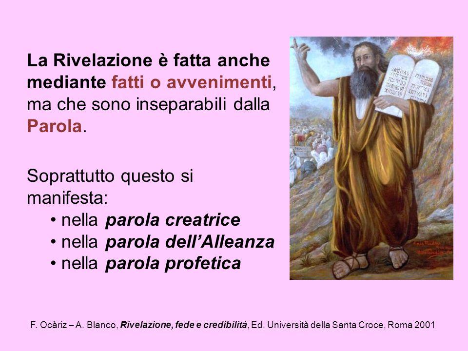 F. Ocàriz – A. Blanco, Rivelazione, fede e credibilità, Ed. Università della Santa Croce, Roma 2001 La Rivelazione è fatta anche mediante fatti o avve