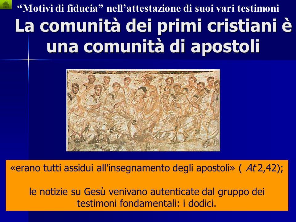 La comunità dei primi cristiani è una comunità di apostoli Motivi di fiducia nellattestazione di suoi vari testimoni Nel fare catechesi dovevano torna