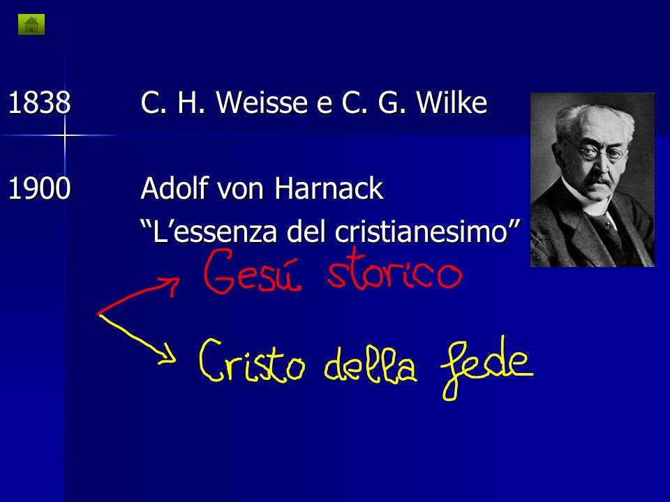 1778Hermann Samuel Reimarus Lo scopo di Gesù e quello dei discepoli 1835David Friedrich Strauss Vita di Gesù