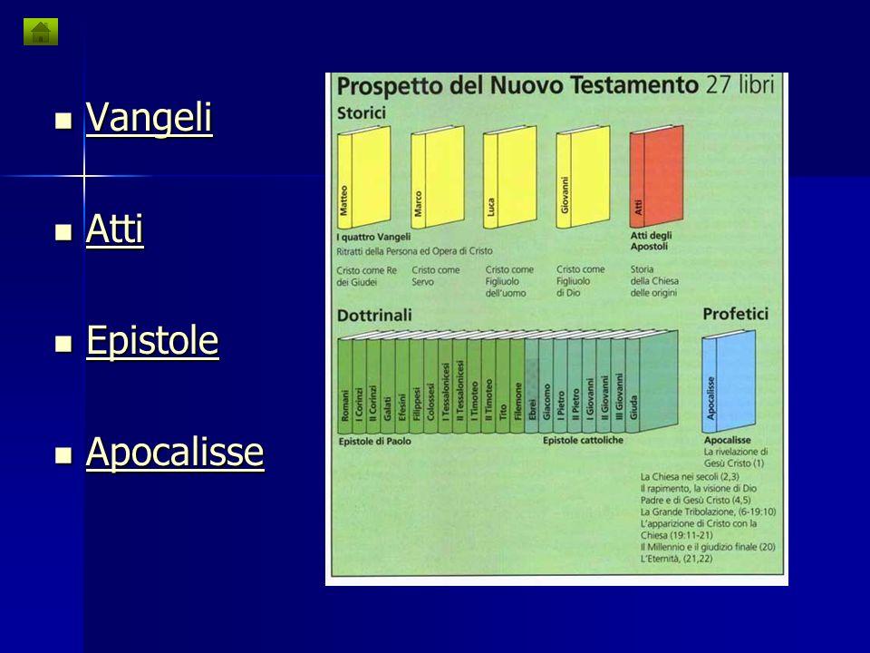 Vangeli Vangeli Vangeli Atti Atti Atti Epistole Epistole Epistole Apocalisse Apocalisse Apocalisse