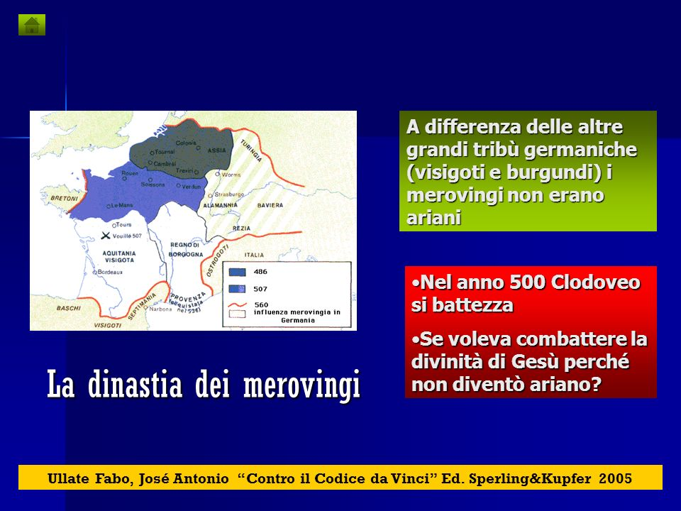 La dinastia dei merovingi La discendenza di Cristo e Maddalena si sarebbe prolungata, in incognito, lungo la storia, attraverso la dinastia dei Merovi