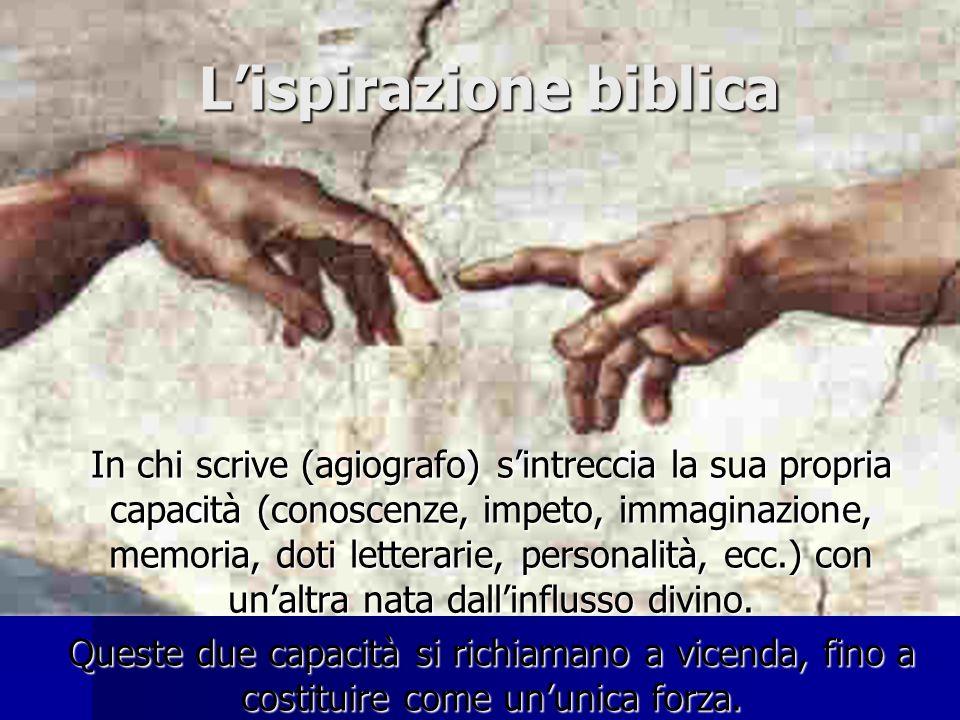 Lispirazione biblica Nel processo ispirante, Dio, autore principale, agisce illuminando lintelligenza di chi deve scrivere ed spingendo dolcemente la