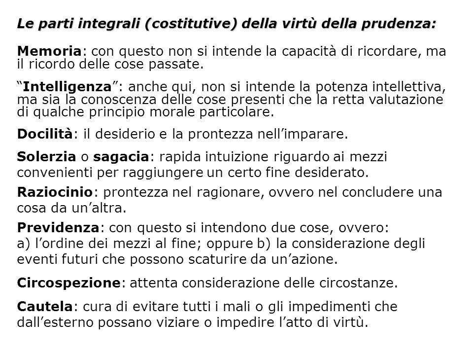 Le parti soggettive (suddivisioni) della virtù della prudenza: Prudenza personale, per la quale uno governa se stesso.