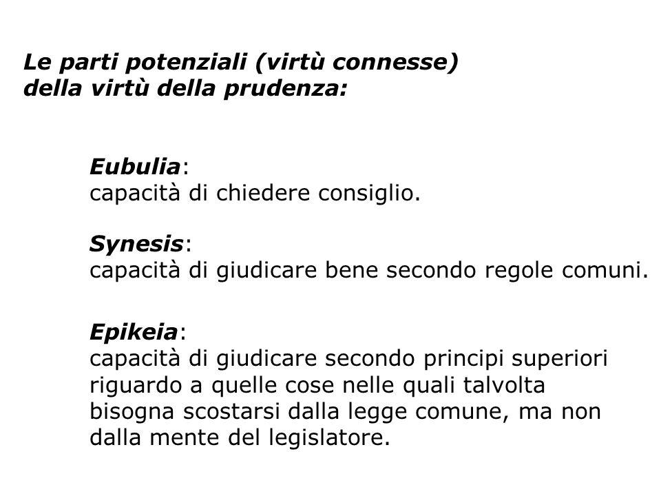 Le parti potenziali (virtù connesse) della virtù della prudenza: Eubulia: capacità di chiedere consiglio.