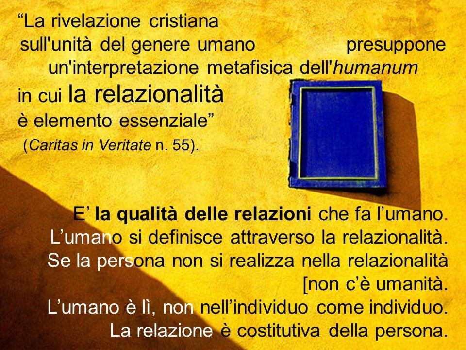 La rivelazione cristiana sull unità del genere umano presuppone un interpretazione metafisica dell humanum in cui la relazionalità è elemento essenziale (Caritas in Veritate n.