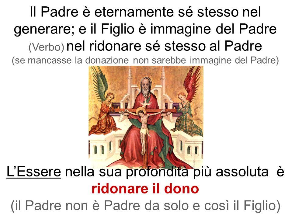 Il Padre è eternamente sé stesso nel generare; e il Figlio è immagine del Padre (Verbo) nel ridonare sé stesso al Padre (se mancasse la donazione non