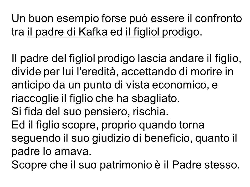 Un buon esempio forse può essere il confronto tra il padre di Kafka ed il figliol prodigo. Il padre del figliol prodigo lascia andare il figlio, divid