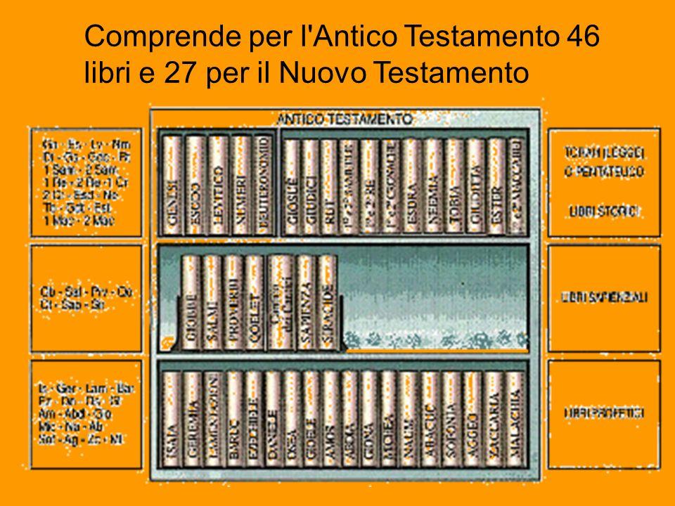 Comprende per l'Antico Testamento 46 libri e 27 per il Nuovo Testamento