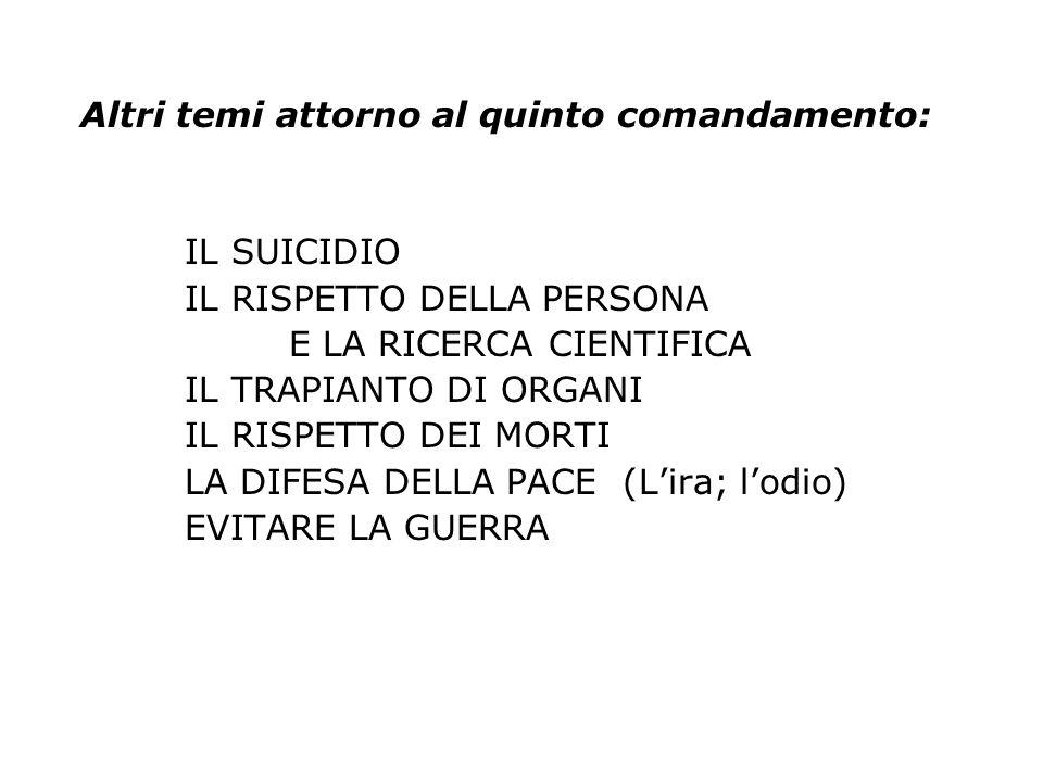 Altri temi attorno al quinto comandamento: IL SUICIDIO IL RISPETTO DELLA PERSONA E LA RICERCA CIENTIFICA IL TRAPIANTO DI ORGANI IL RISPETTO DEI MORTI
