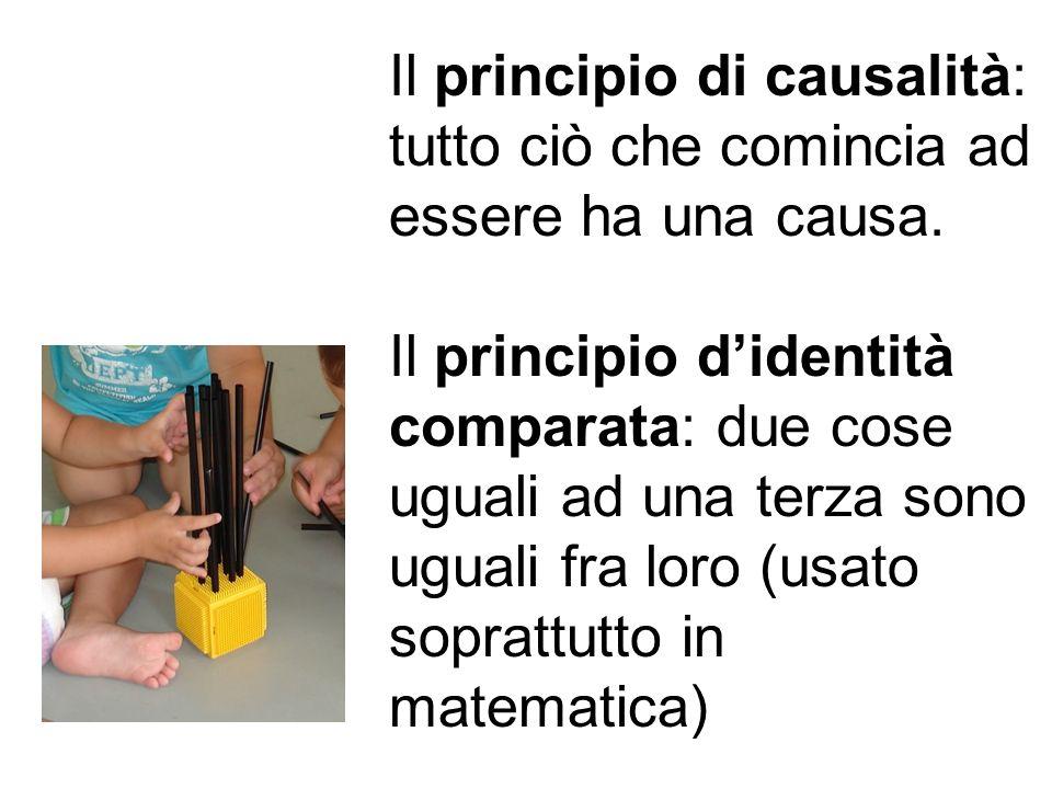 Il principio di causalità: tutto ciò che comincia ad essere ha una causa. Il principio didentità comparata: due cose uguali ad una terza sono uguali f