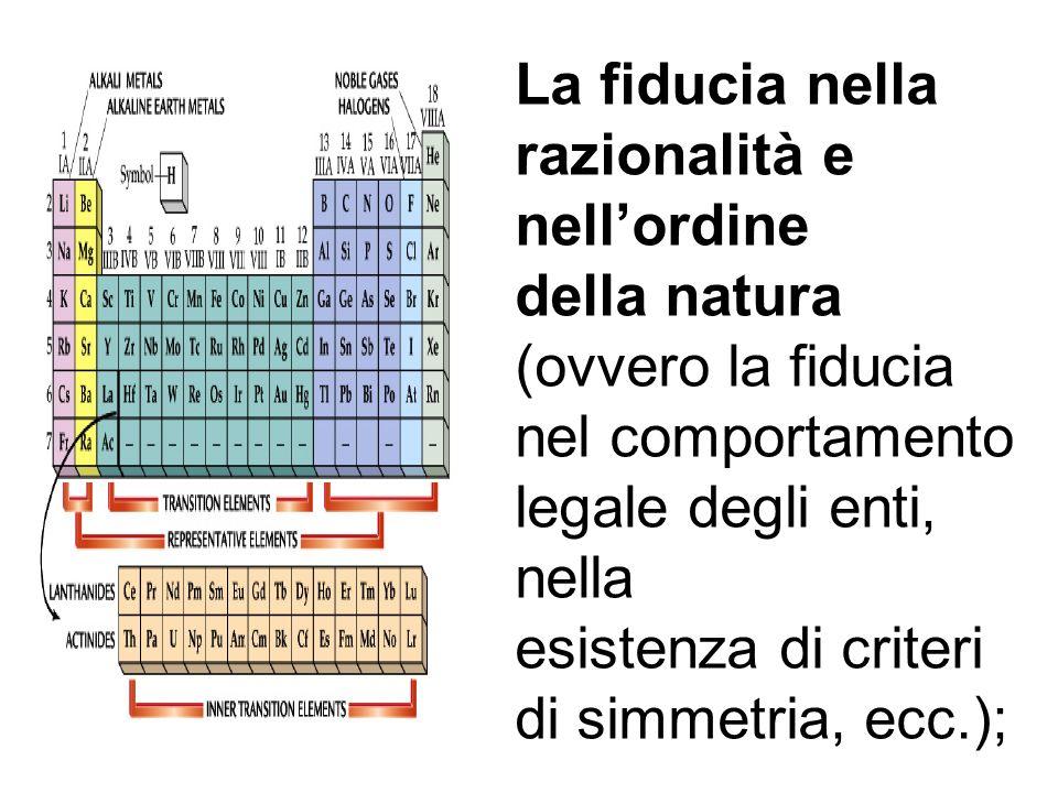 La fiducia nella razionalità e nellordine della natura (ovvero la fiducia nel comportamento legale degli enti, nella esistenza di criteri di simmetria