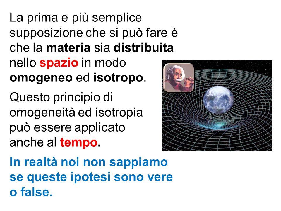 La prima e più semplice supposizione che si può fare è che la materia sia distribuita nello spazio in modo omogeneo ed isotropo. Questo principio di o