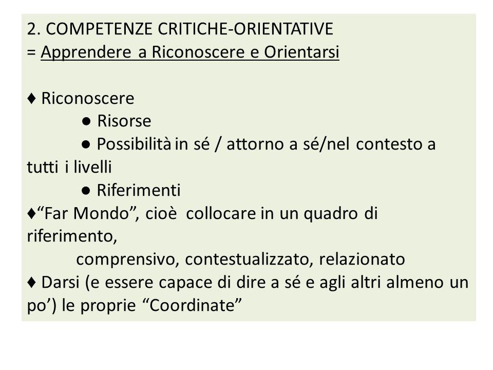 2. COMPETENZE CRITICHE-ORIENTATIVE = Apprendere a Riconoscere e Orientarsi Riconoscere Risorse Possibilitàin sé / attorno a sé/nel contesto a tutti i
