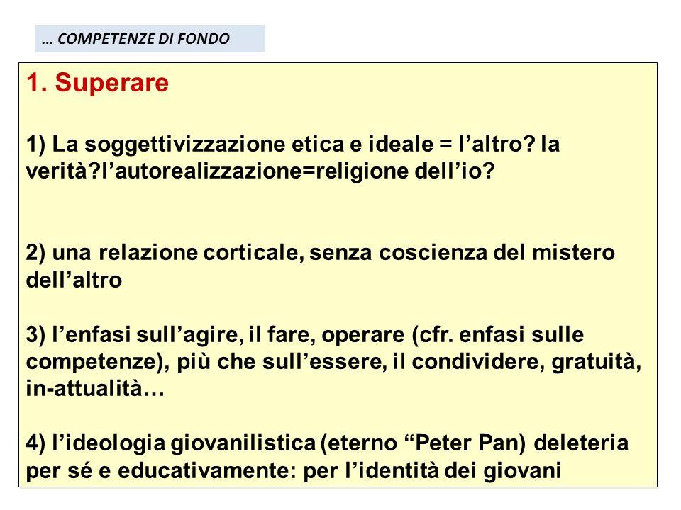 1. Superare 1) La soggettivizzazione etica e ideale = laltro.