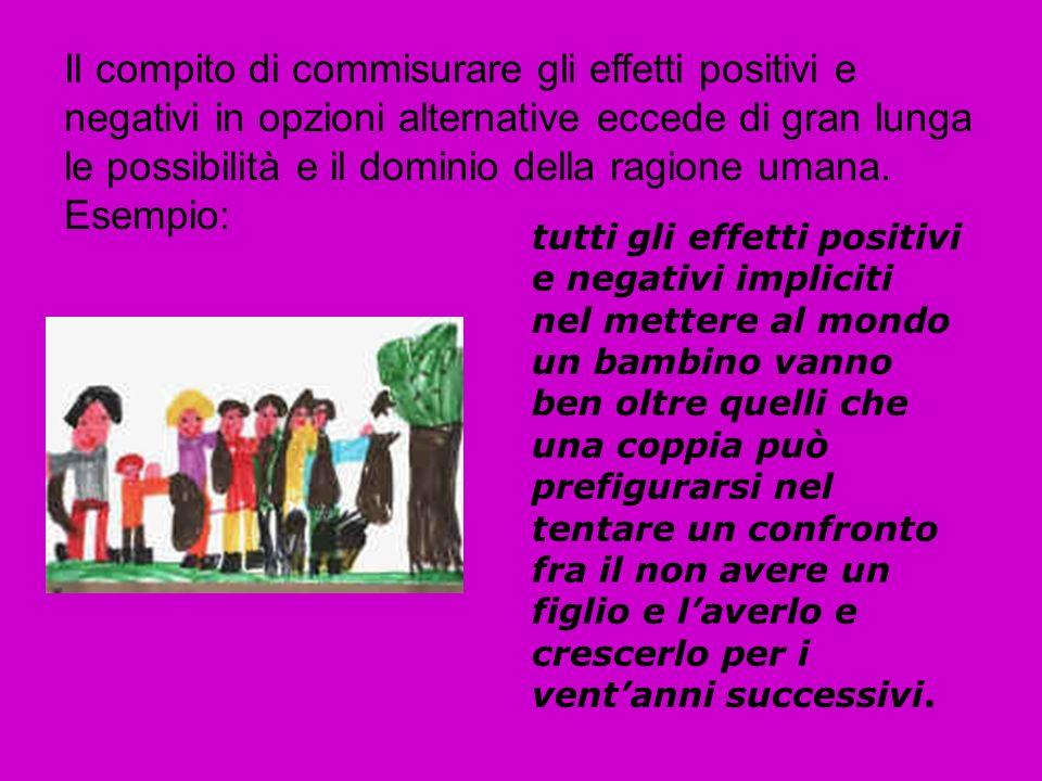 Il compito di commisurare gli effetti positivi e negativi in opzioni alternative eccede di gran lunga le possibilità e il dominio della ragione umana.