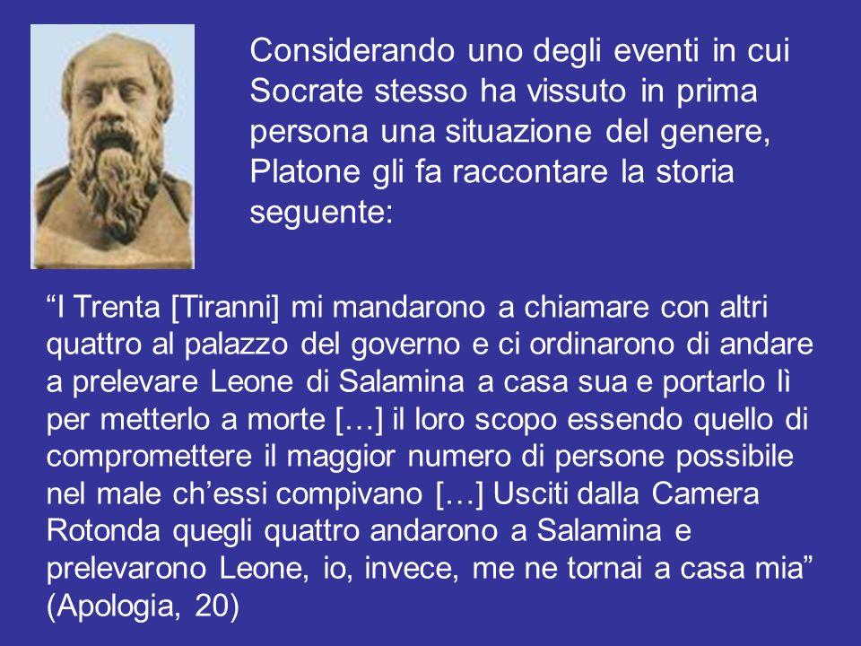 Considerando uno degli eventi in cui Socrate stesso ha vissuto in prima persona una situazione del genere, Platone gli fa raccontare la storia seguent