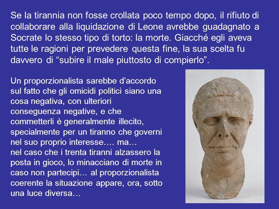 Se la tirannia non fosse crollata poco tempo dopo, il rifiuto di collaborare alla liquidazione di Leone avrebbe guadagnato a Socrate lo stesso tipo di torto: la morte.