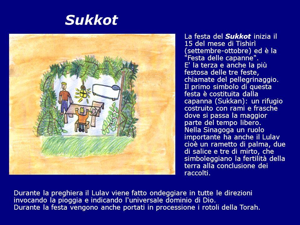 Sukkot La festa del Sukkot inizia il 15 del mese di Tishirì (settembre-ottobre) ed è la