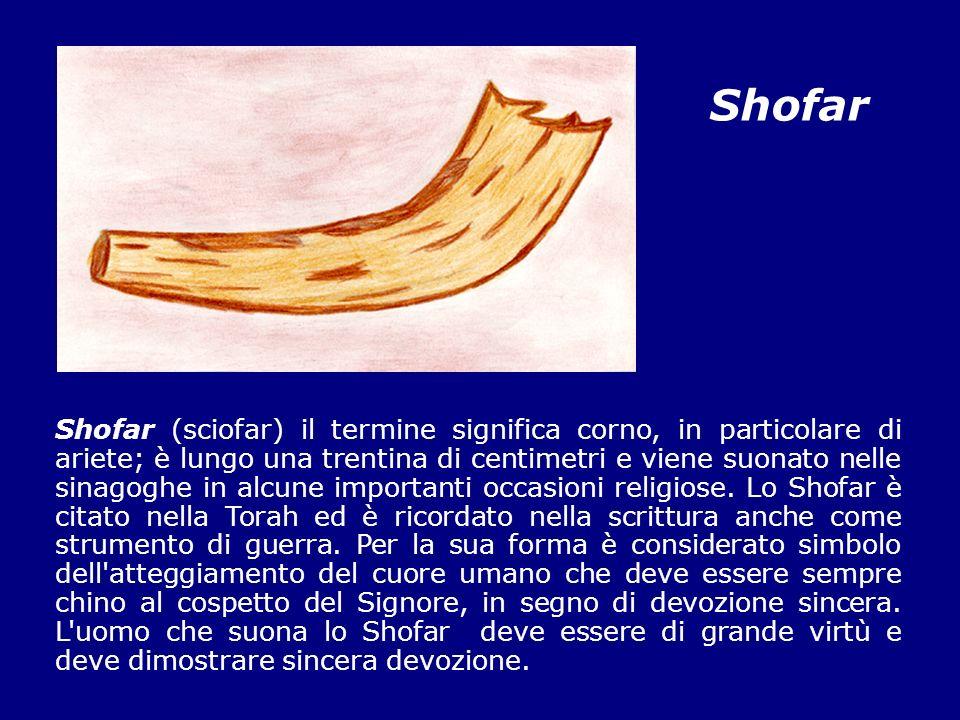 Shofar Shofar (sciofar) il termine significa corno, in particolare di ariete; è lungo una trentina di centimetri e viene suonato nelle sinagoghe in al