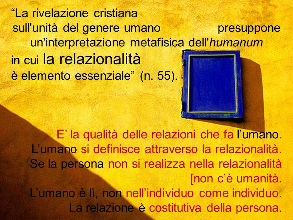 11 La rivelazione cristiana sull'unità del genere umano presuppone un'interpretazione metafisica dell'humanum in cui la relazionalità è elemento essen