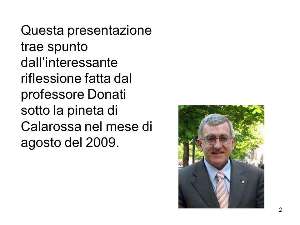 2 Questa presentazione trae spunto dallinteressante riflessione fatta dal professore Donati sotto la pineta di Calarossa nel mese di agosto del 2009.