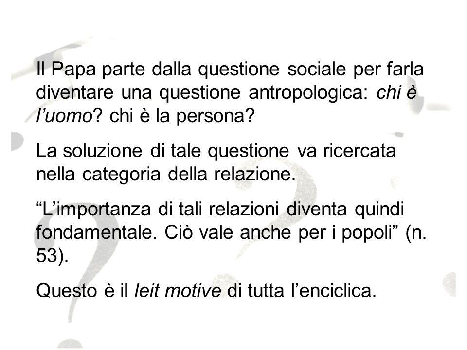 21 Il Papa parte dalla questione sociale per farla diventare una questione antropologica: chi è luomo? chi è la persona? La soluzione di tale question
