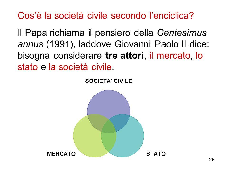 28 Cosè la società civile secondo lenciclica? Il Papa richiama il pensiero della Centesimus annus (1991), laddove Giovanni Paolo II dice: bisogna cons
