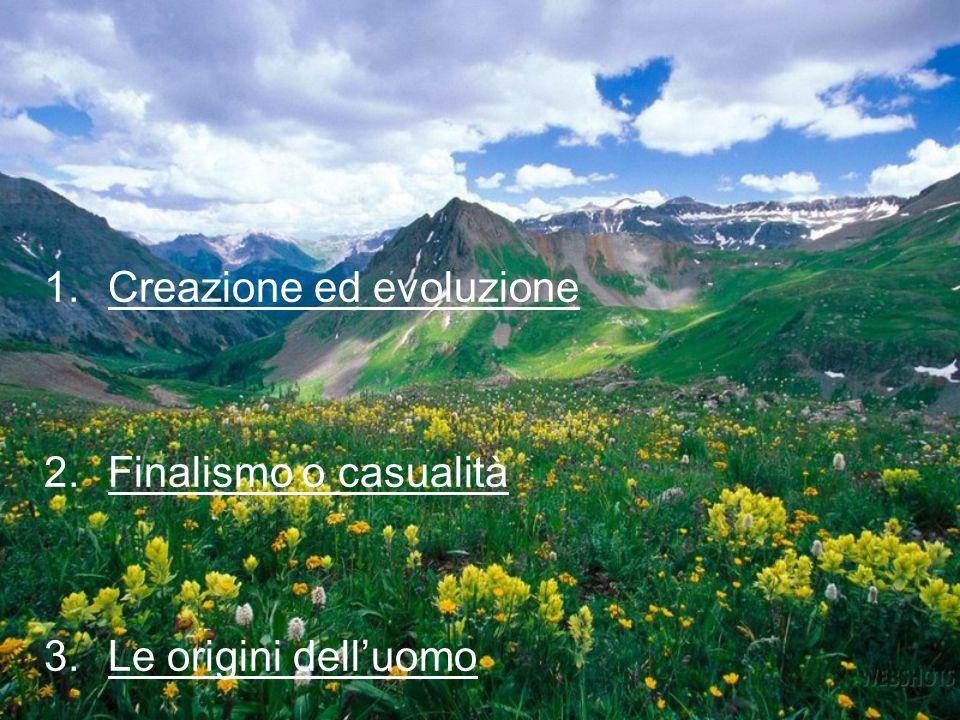 1.Creazione ed evoluzione 2.Finalismo o casualità 3.Le origini delluomo