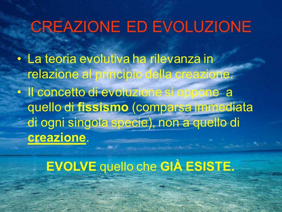 CREAZIONE ED EVOLUZIONE La teoria evolutiva ha rilevanza in relazione al principio della creazione. Il concetto di evoluzione si oppone a quello di fi
