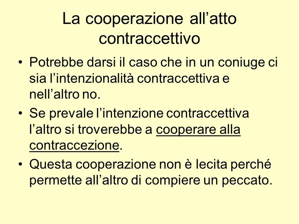 La cooperazione allatto contraccettivo Potrebbe darsi il caso che in un coniuge ci sia lintenzionalità contraccettiva e nellaltro no.
