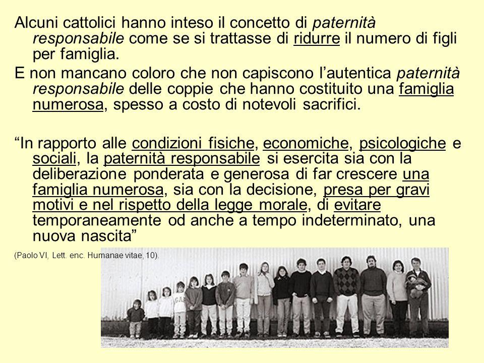 Alcuni cattolici hanno inteso il concetto di paternità responsabile come se si trattasse di ridurre il numero di figli per famiglia.