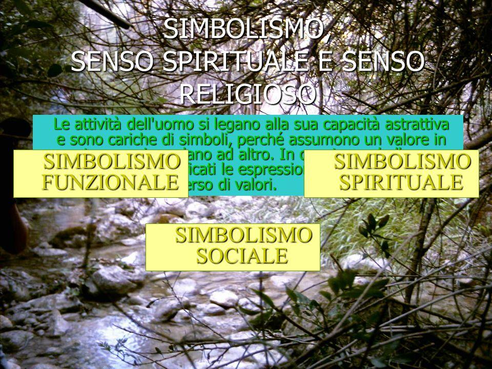 SIMBOLISMO SPIRITUALE Il simbolismo presente nelle varie forme artistiche trascende la sfera dei bisogni individuali e sociali, per divenire simbolismo spirituale, manifestazioni del senso estetico.