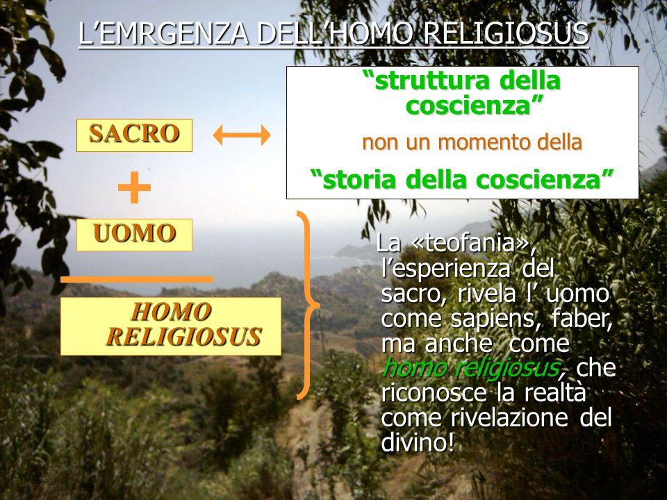 SACRO struttura della coscienza non un momento della non un momento della storia della coscienza UOMO HOMO RELIGIOSUS La «teofania», lesperienza del s