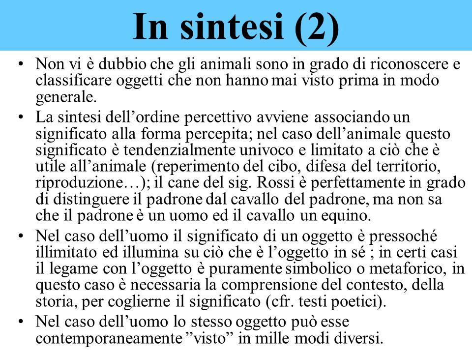 Non vi è dubbio che gli animali sono in grado di riconoscere e classificare oggetti che non hanno mai visto prima in modo generale. La sintesi dellord