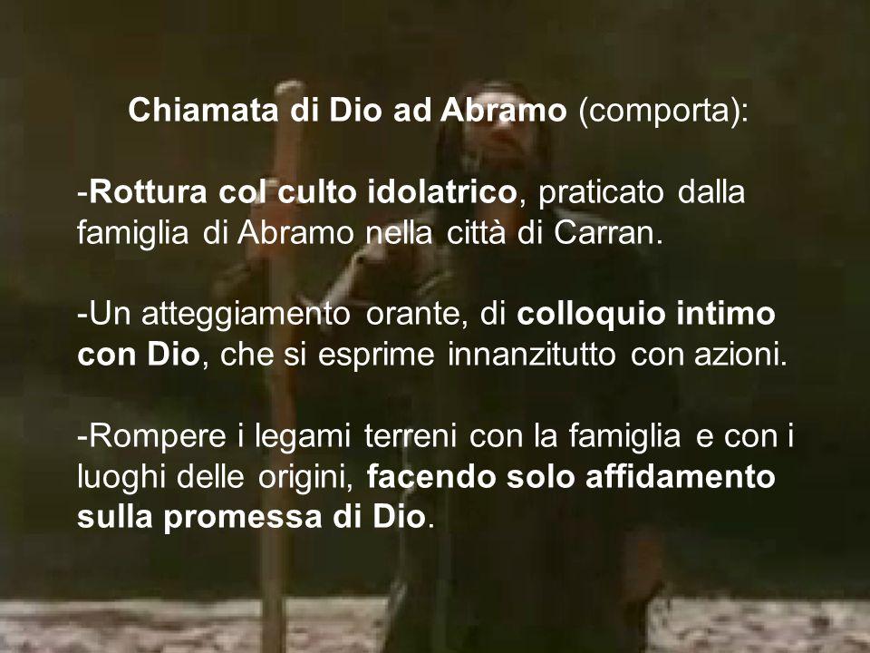Chiamata di Dio ad Abramo (comporta): -Rottura col culto idolatrico, praticato dalla famiglia di Abramo nella città di Carran. -Un atteggiamento orant