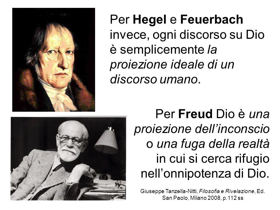 Per Hegel e Feuerbach invece, ogni discorso su Dio è semplicemente la proiezione ideale di un discorso umano. Per Freud Dio è una proiezione dellincon