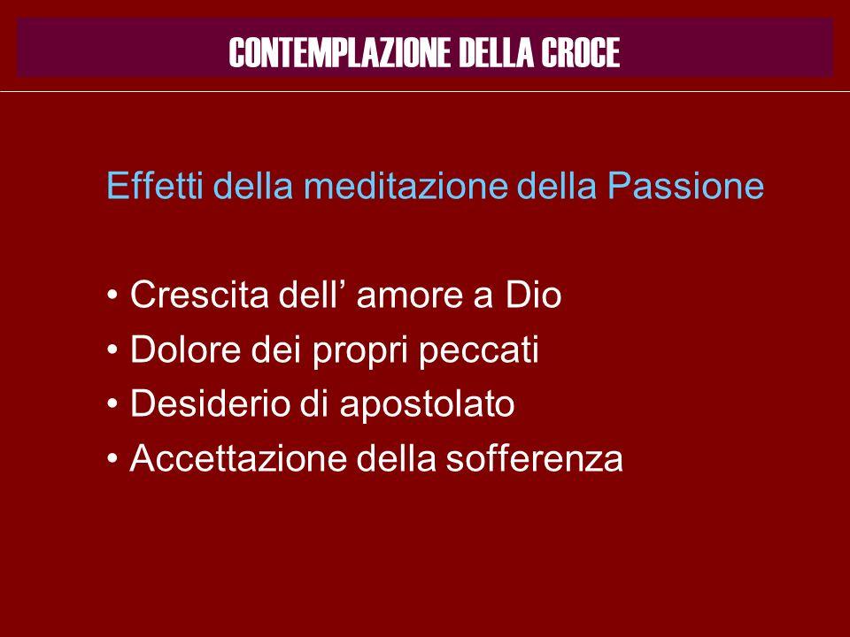 Effetti della meditazione della Passione Crescita dell amore a Dio Dolore dei propri peccati Desiderio di apostolato Accettazione della sofferenza CON